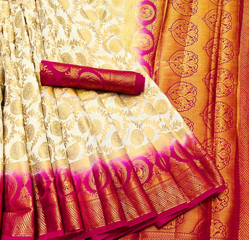 Cream Moonga Soft Silk Rich pallu Saree With Blouse Piece