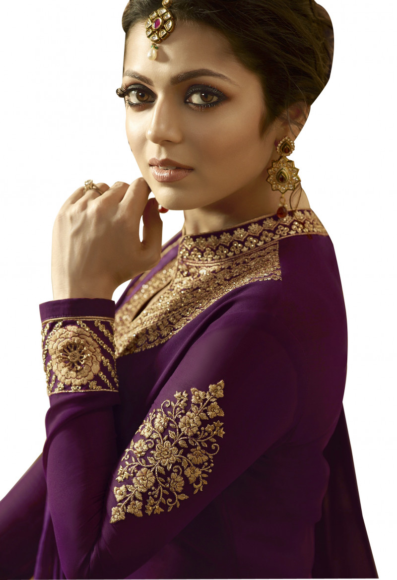New Arrival Purple Partywear Embroidered Georgette Anarkali Suit
