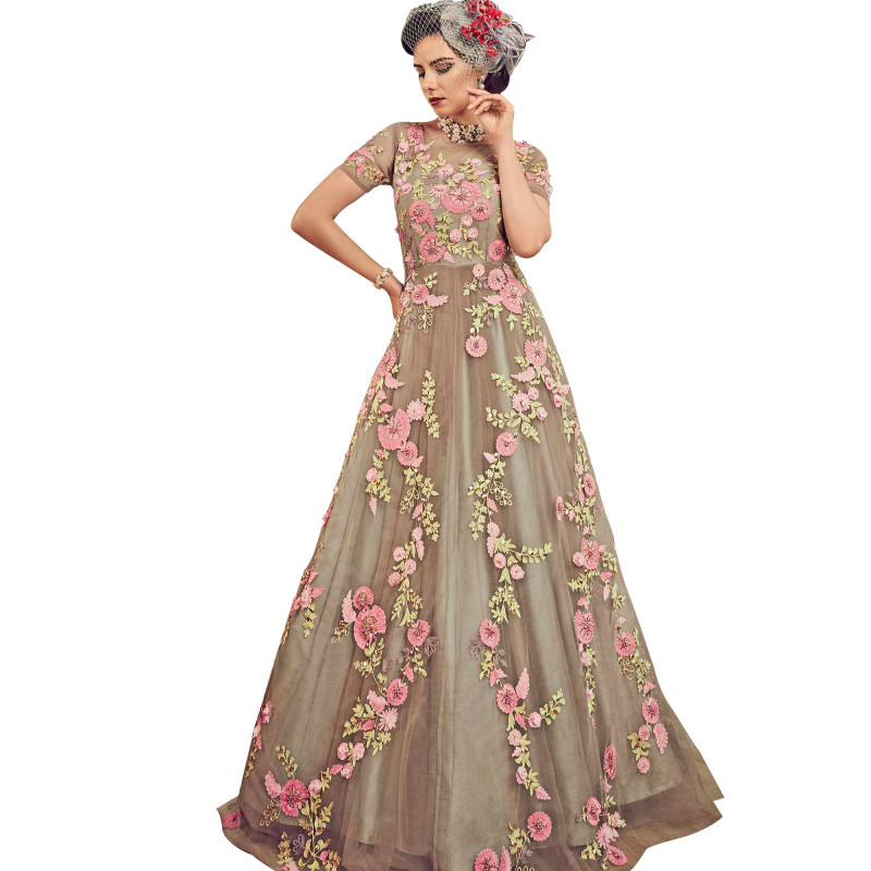Grey Partywear Embroidered Georgette Anarkali Suit