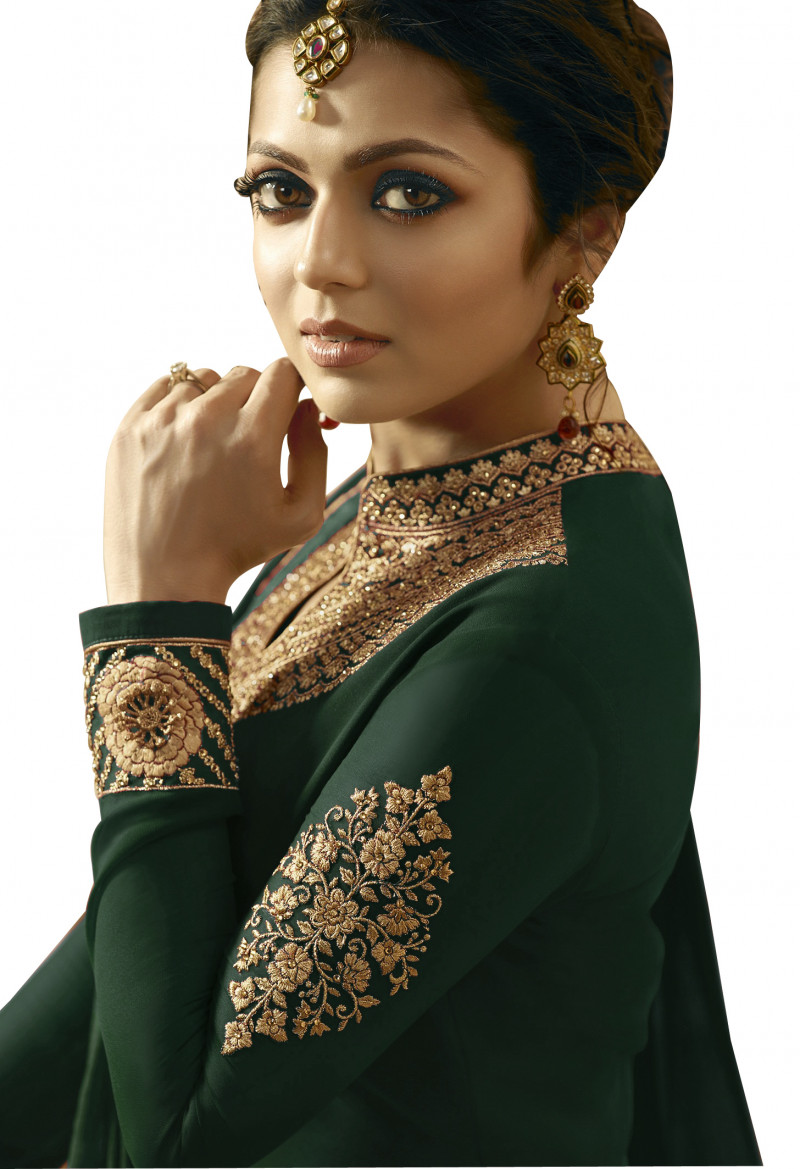 Green Partywear Embroidered Georgette Anarkali Suit