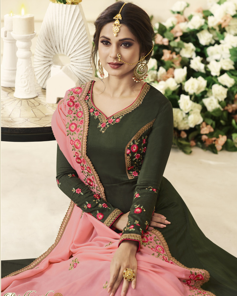 New Arrival Green Silk Bollywood Anarkali Frock Suit