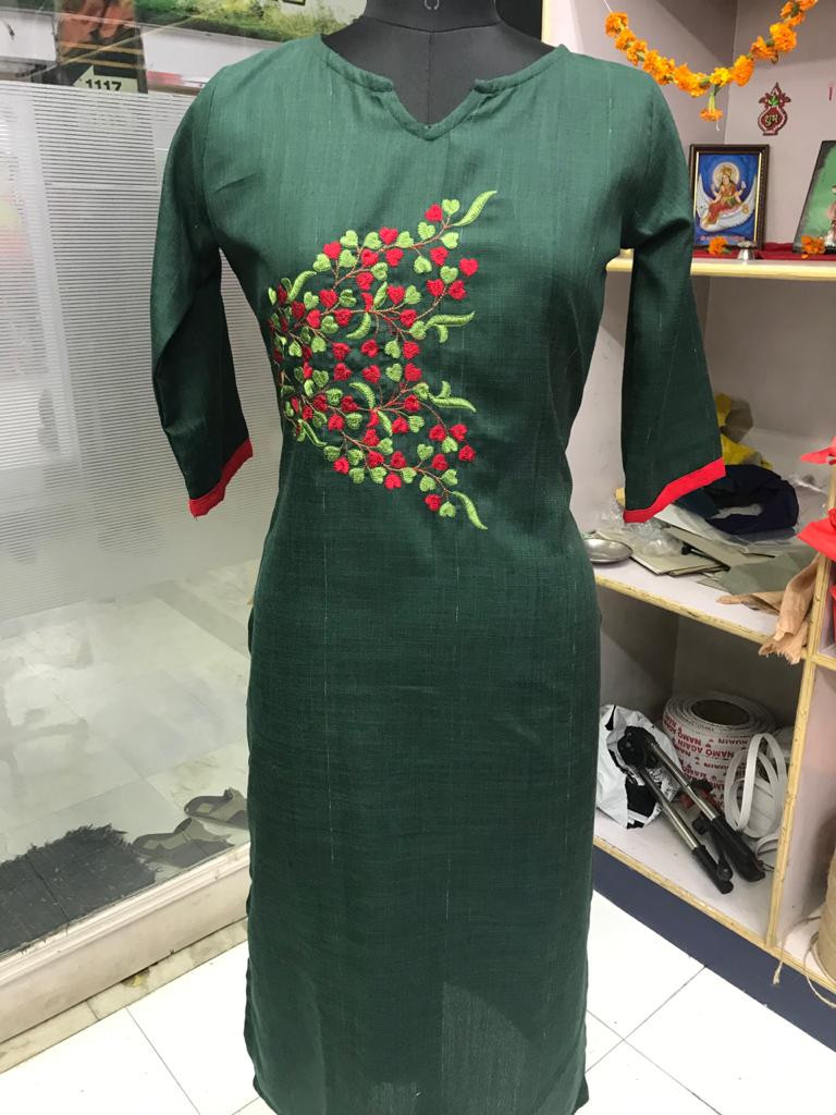 New Arrival Green Embroidered work  Rubby Silk Kurti