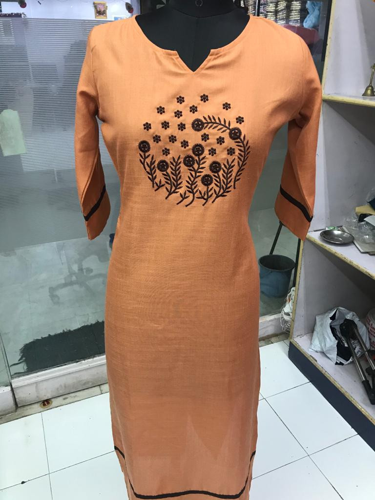 New Arrival Orange Embroidered work Rubby Silk Kurti