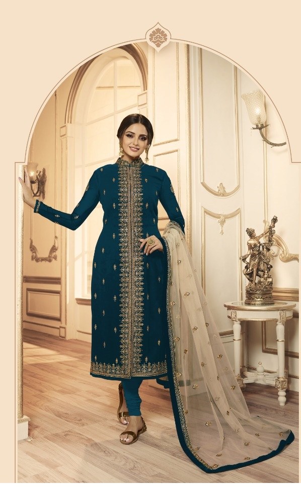 Flaunt Turquoise Faux Georgette  Embroidered Anarkali Suit