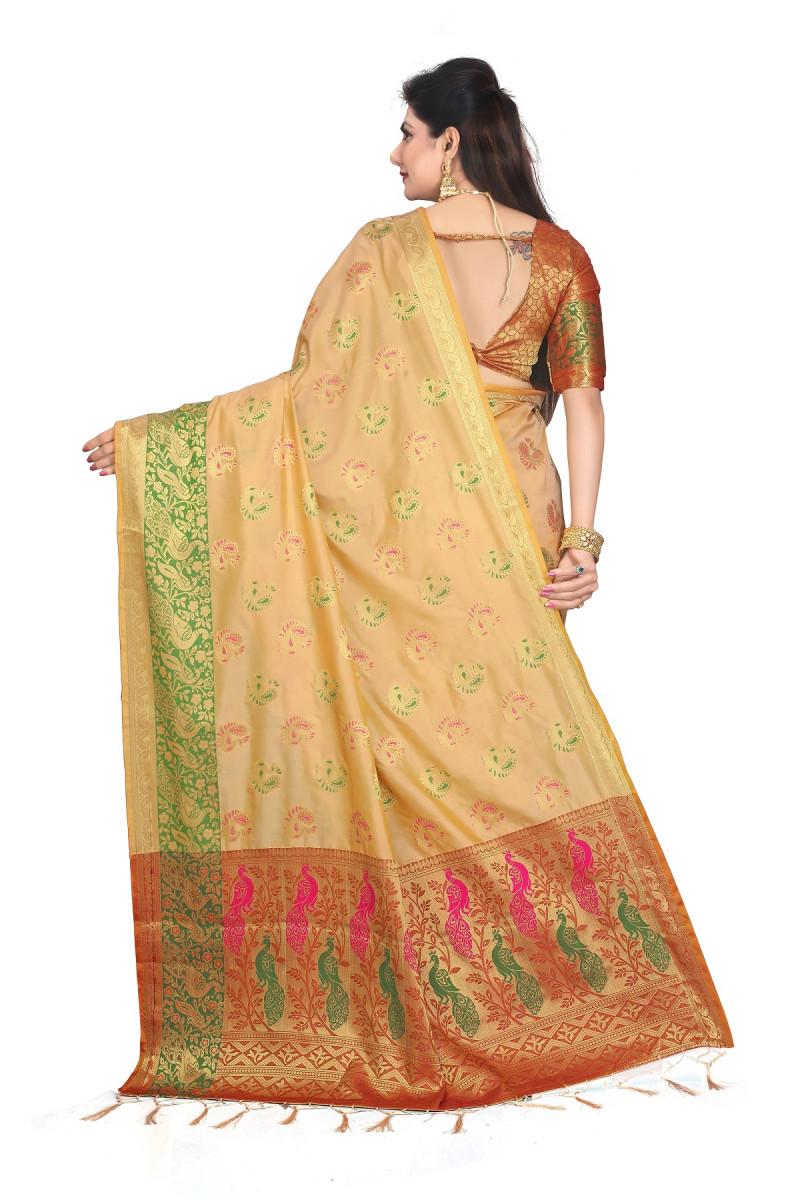 Classy Yellow Banarasi Silk Party Wear Saree