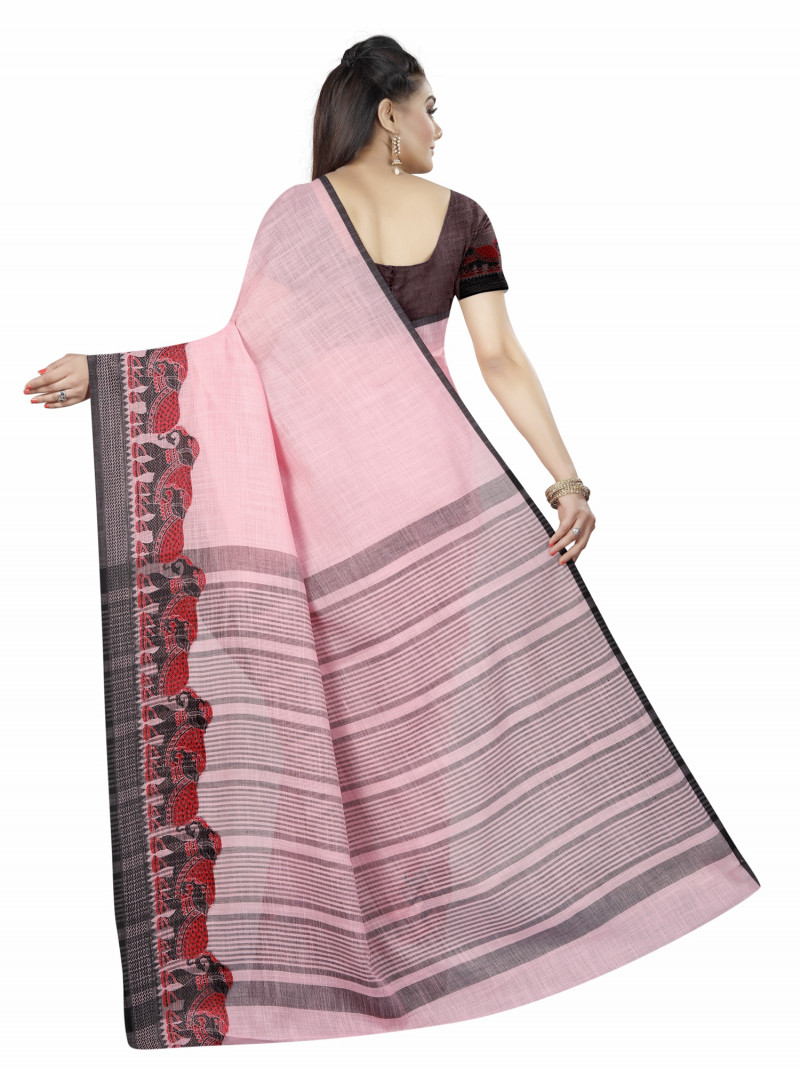 Classy Pink Linen Gala Party Wear Saree