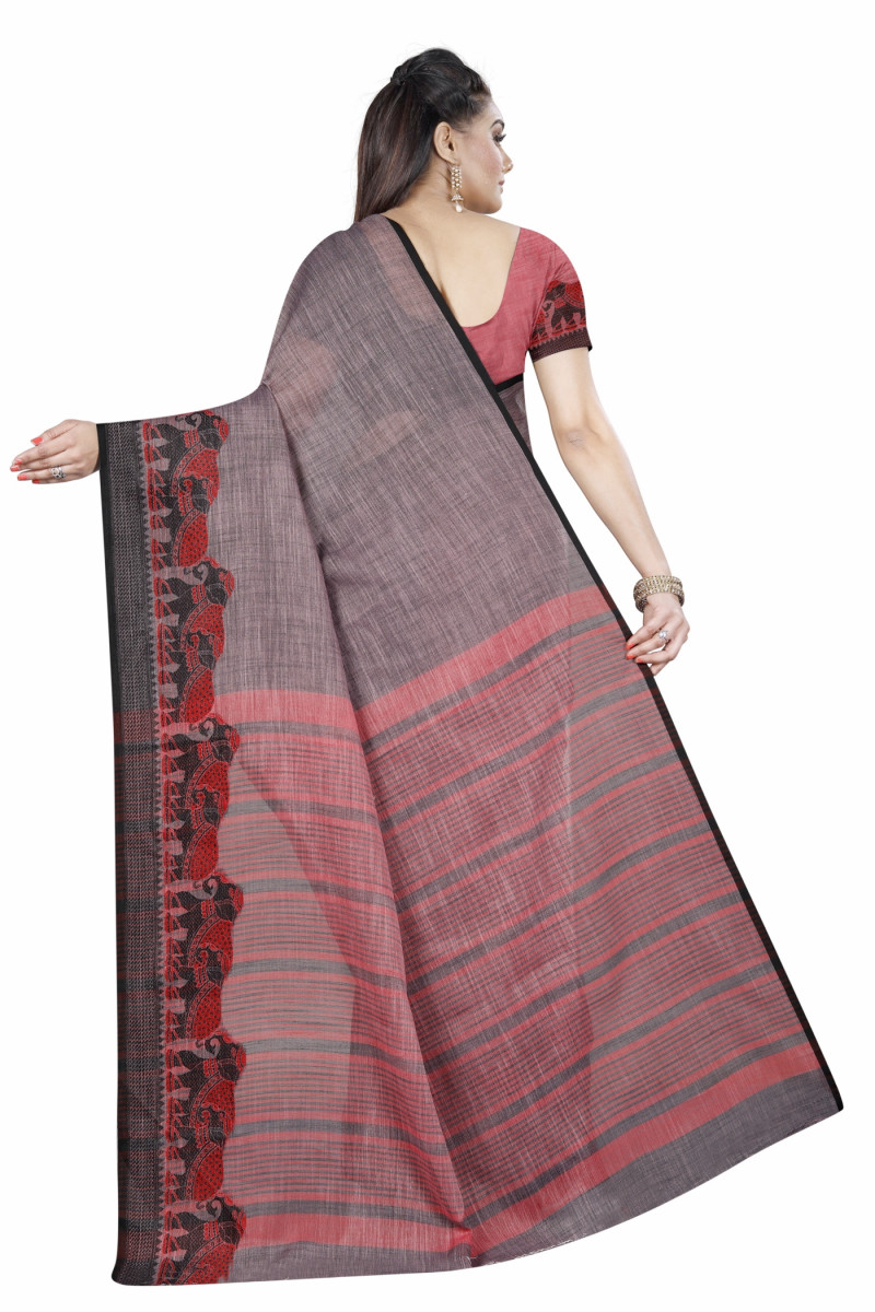 Sizzling Brown Wedding Wear Linen Gala Saree