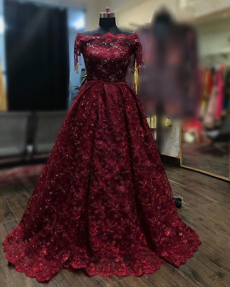Maroon Embroidered Partywear Gown