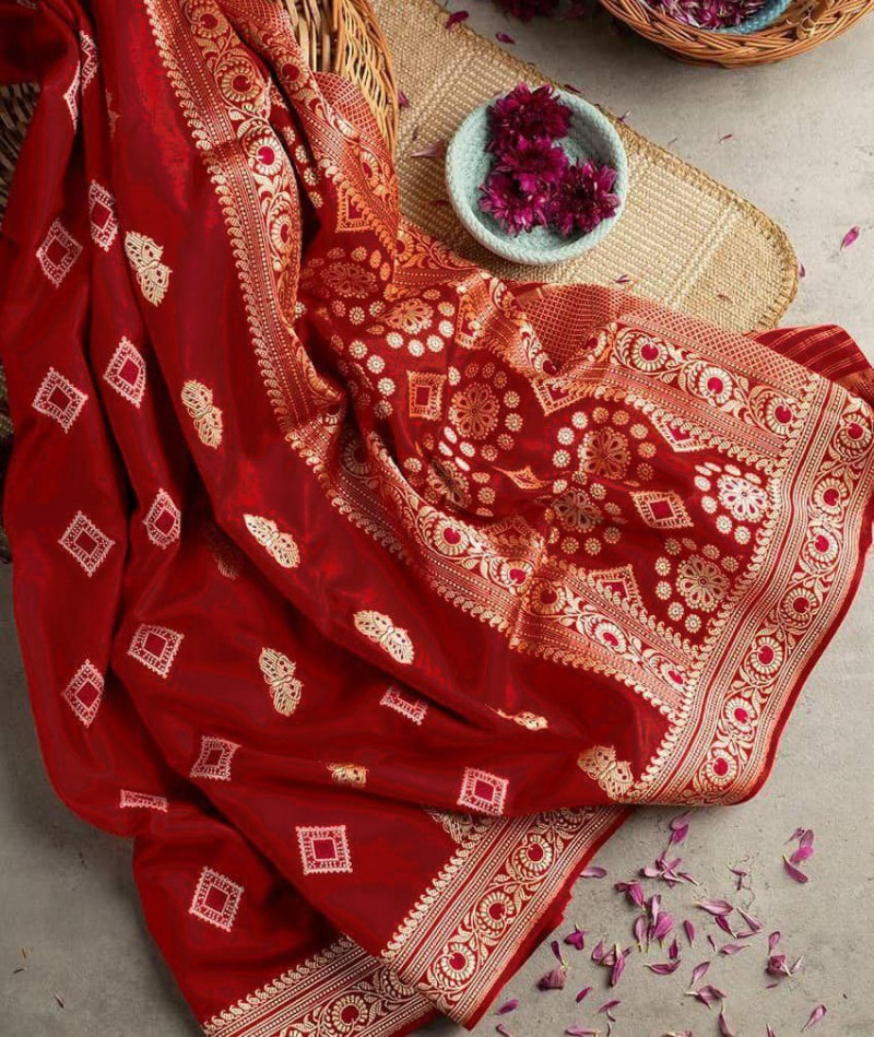 Red Partywear Kanjivaram Silk Saree