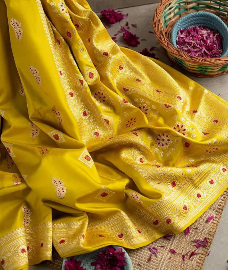Yellow Partywear Kanjivaram Silk Saree