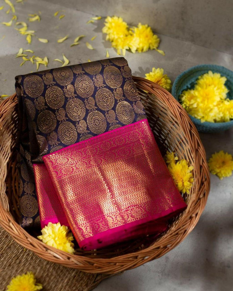 Violet Party wear Kanjivaram Silk Saree