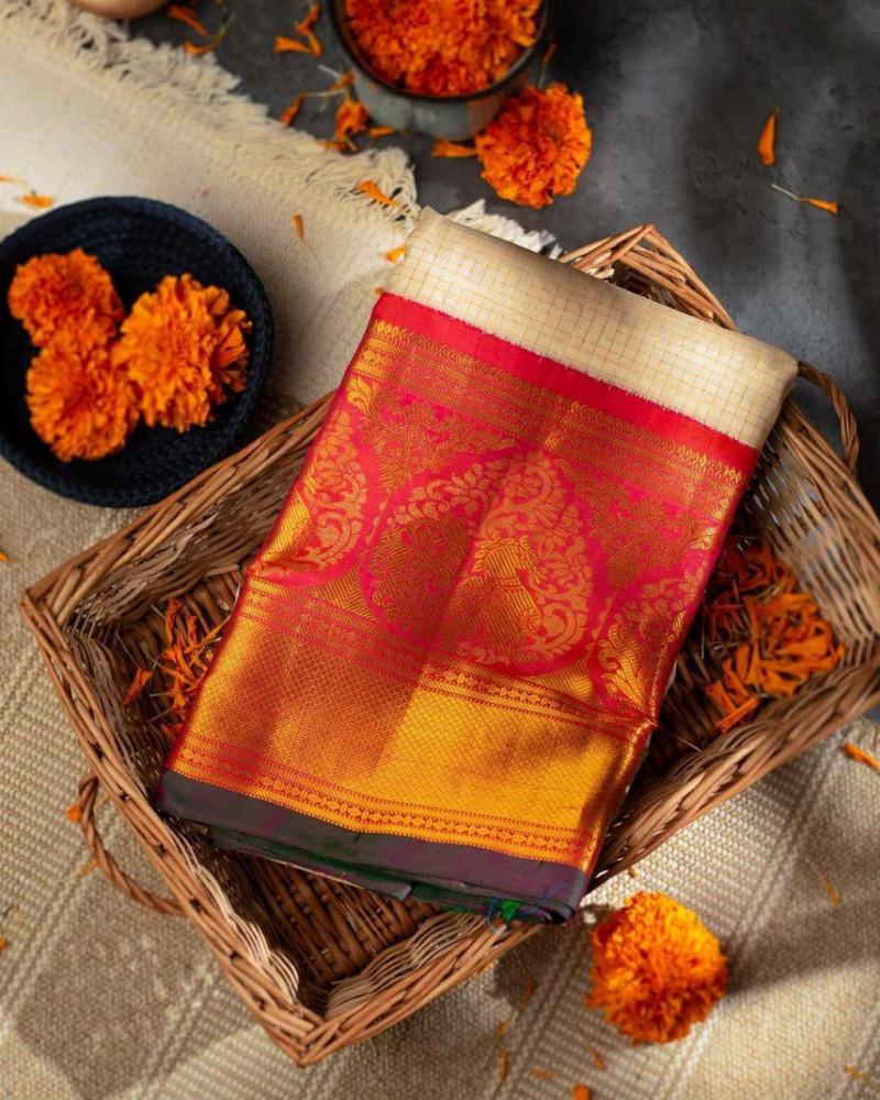 Beige Partywear Kanjivaram Saree
