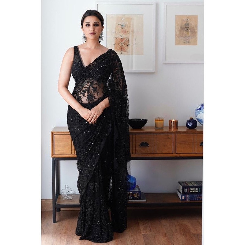 Black Partywear Embroidered Georgette Saree