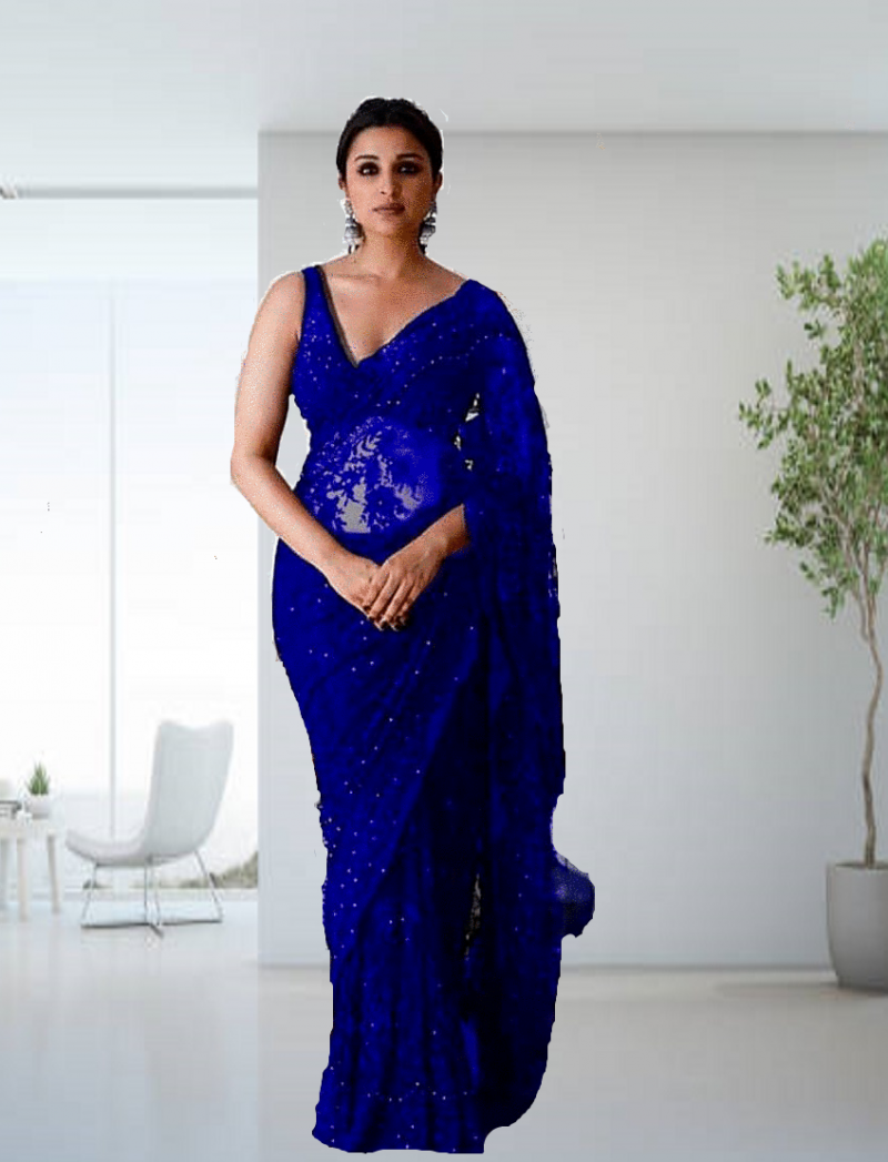 Royal Blue Partywear Georgette Saree