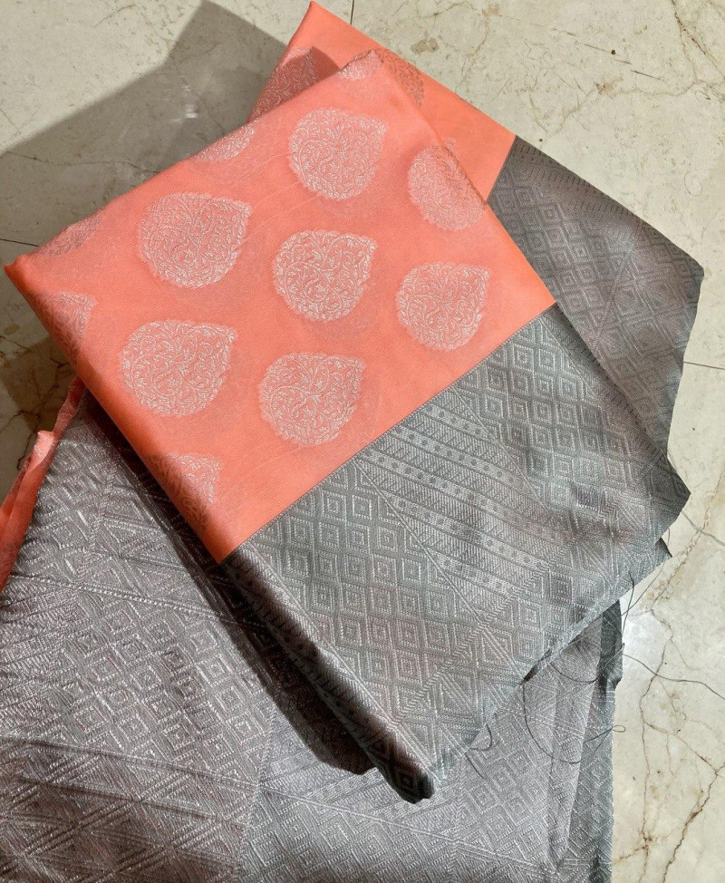 Peach-Grey Partywear Kanjivaram Saree