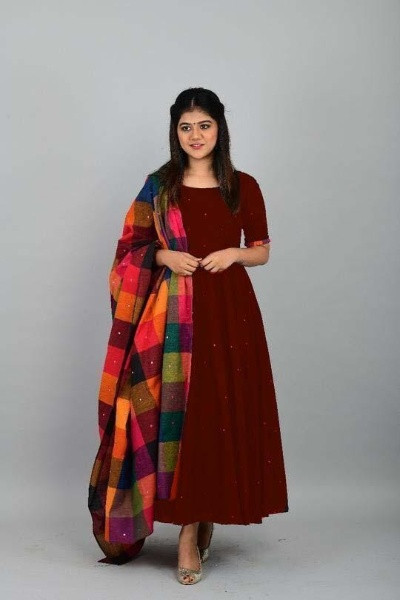 Maroon Partywear Long Kurti with Dupatta