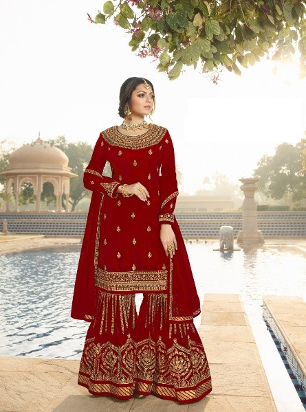 Maroon Wedding Wear Embroidered Palazzo Suit