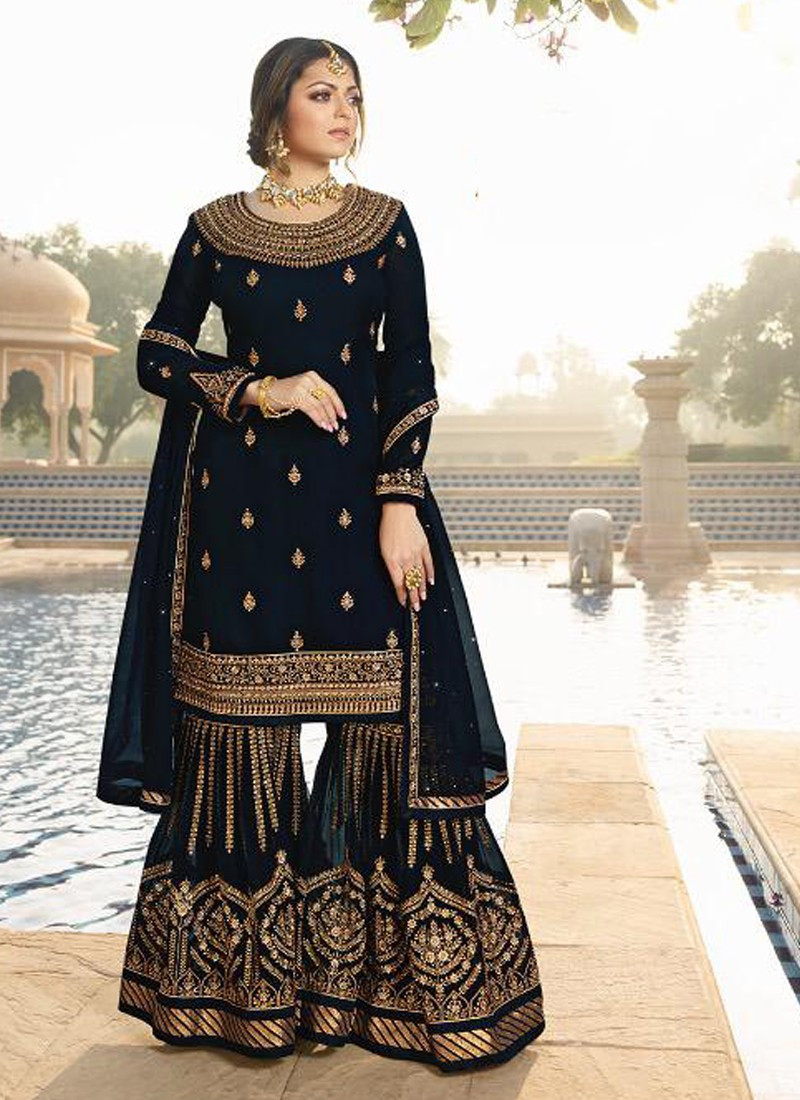 Navy Blue Wedding Wear Embroidered Palazzo Suit
