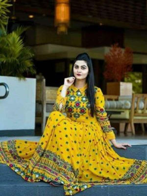 Yellow Rayon Printed Long Kurti