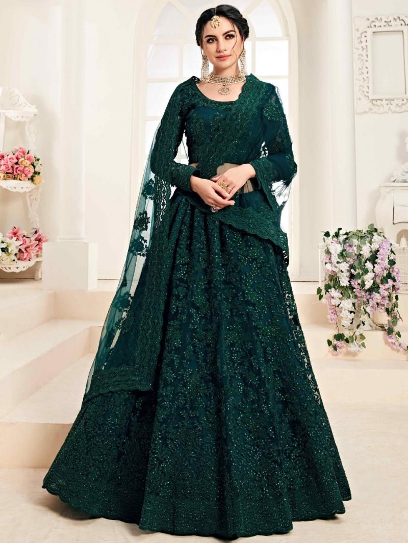Dark Green Wedding Wear Lehenga Choli