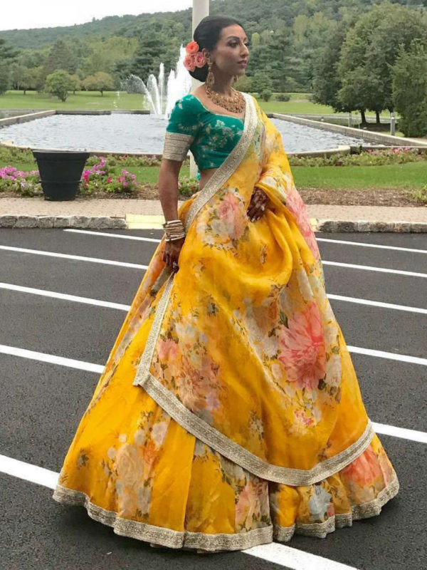 Flower Printed Yellow Lehenga Choli