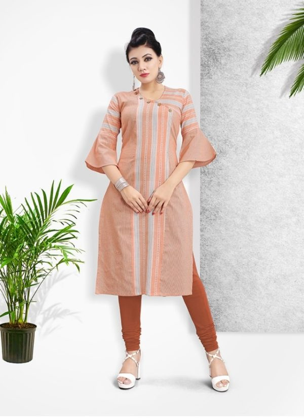 Plain Orange Cotton Kurti