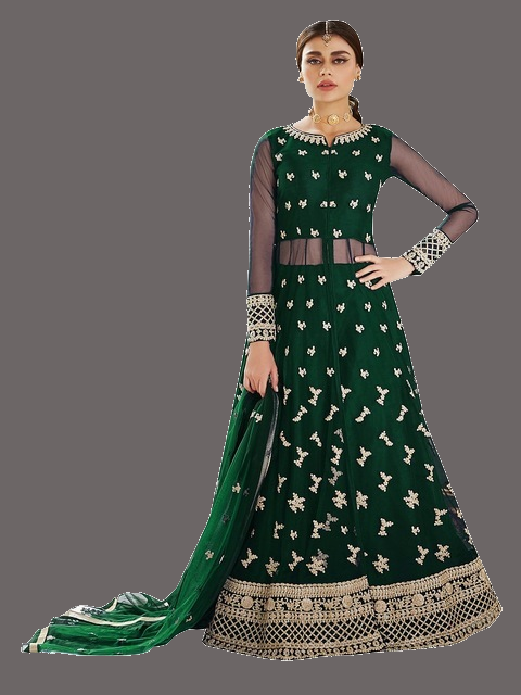 Green Wedding Wear Embroidered Palazzo Suit