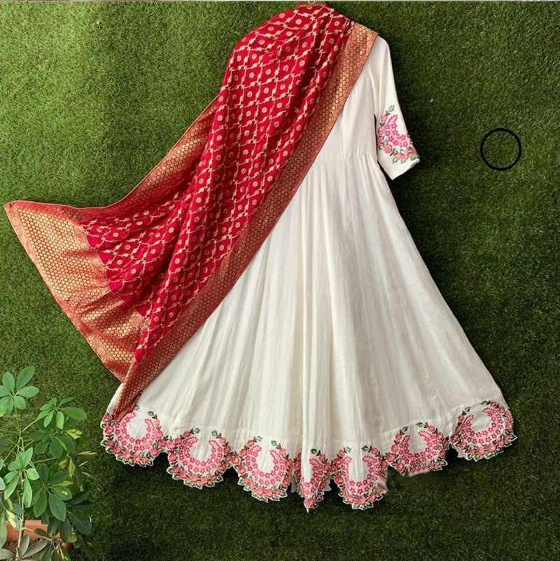 White Cotton Anarkali Salwar Suit With Red Dupatta