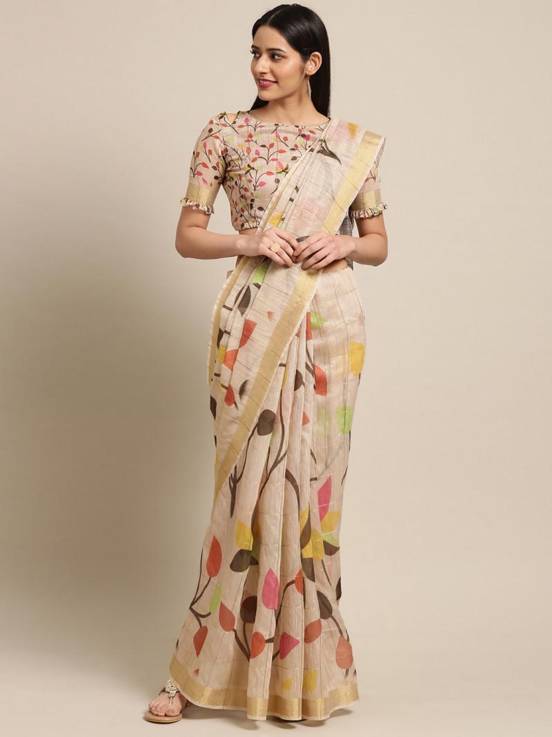 Beige Floral Printed Cotton Saree
