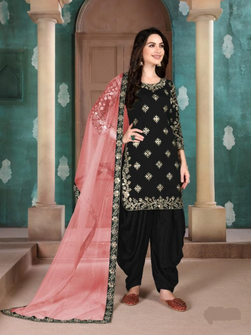 Black Heavy Embroidered Patiala Salwar Suit