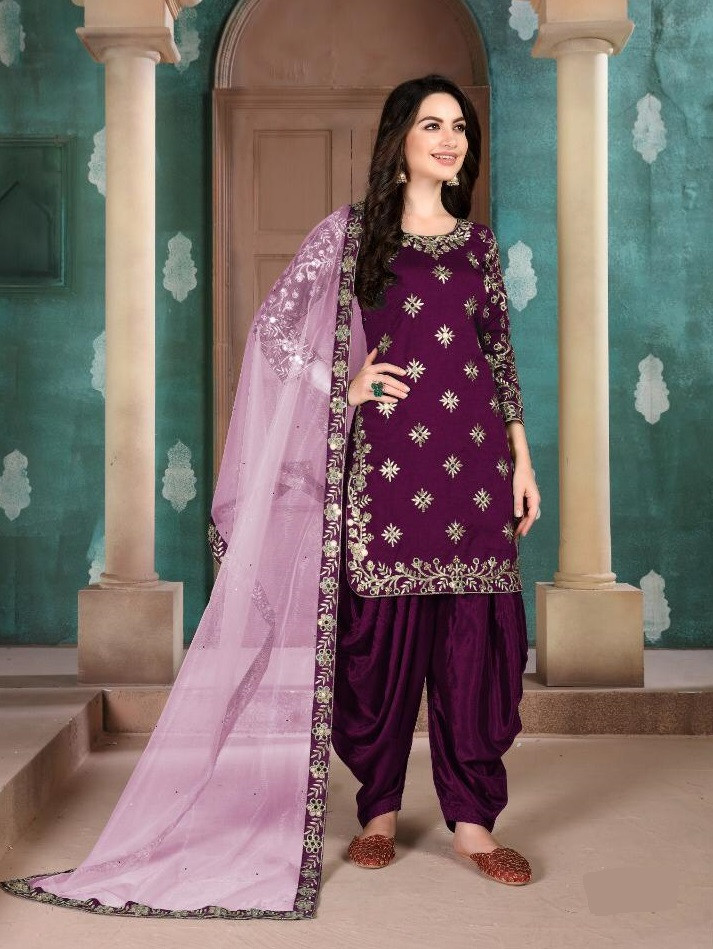 Pink Heavy Embroidered Patiala Salwar Suit