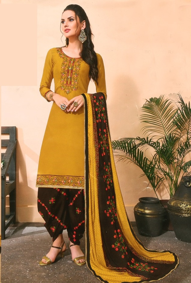 Yellow Cotton Embroidered Patiala Salwar Suit