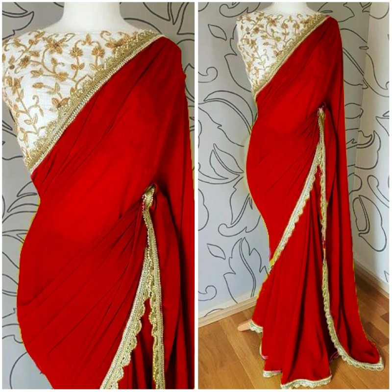 Red Georgette Saree With Embroidered Blouse