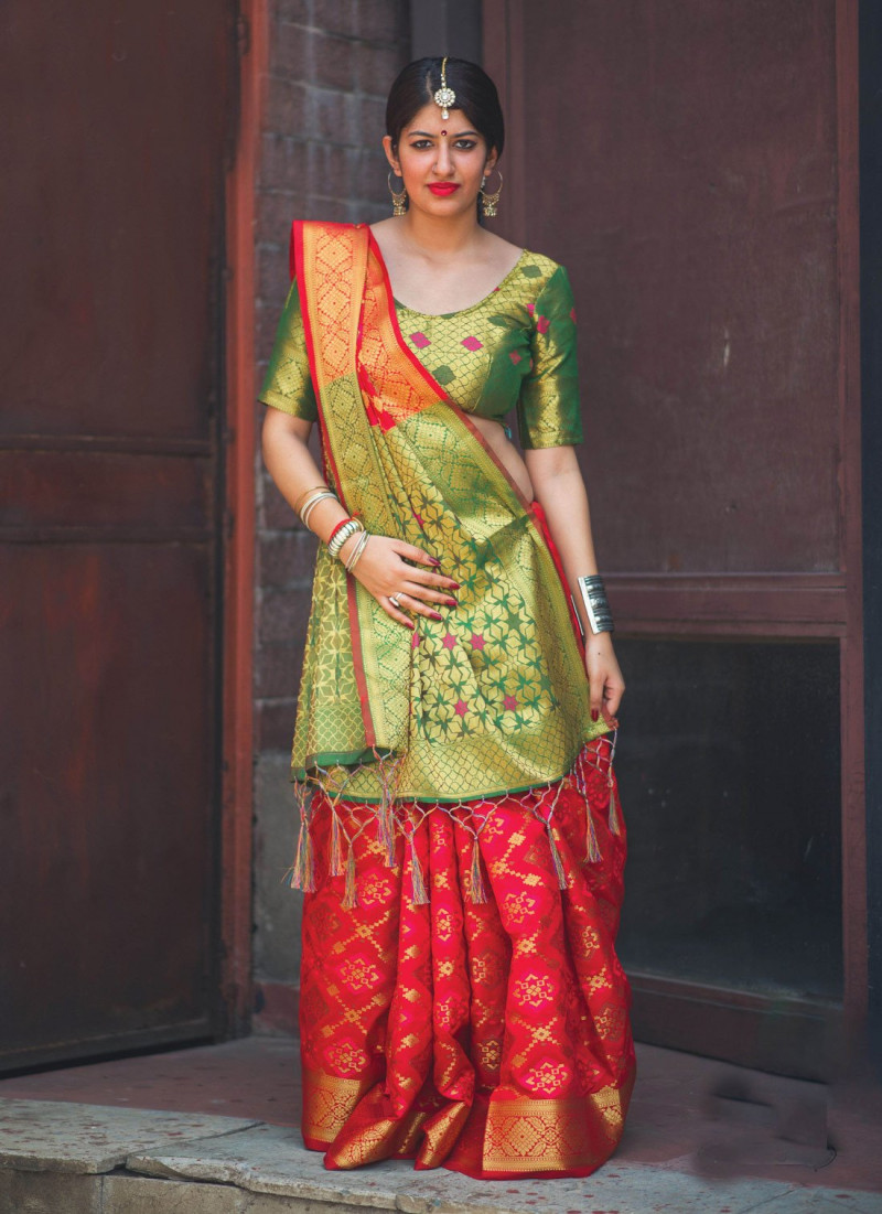 Red Patola Silk Saree With Green Blouse