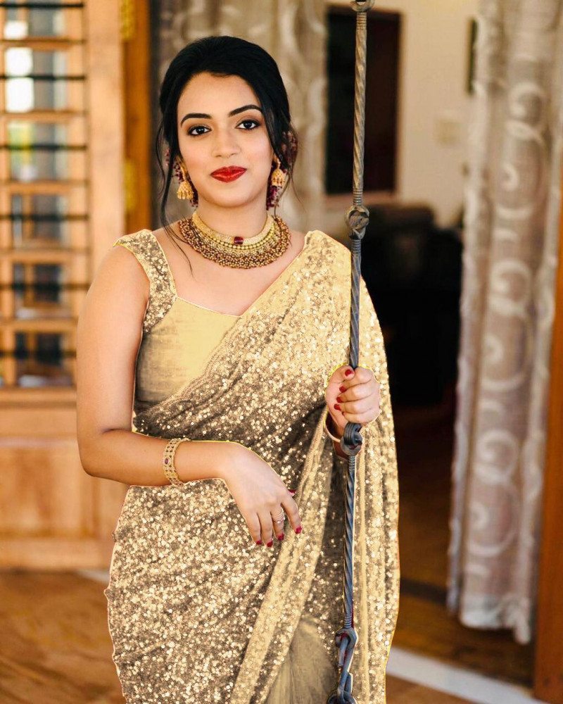 Golden Partywear Heavy Georgette Saree