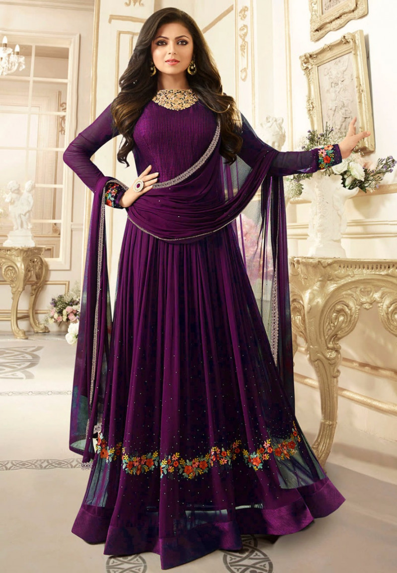 Purple Embroidered Anarkali Salwar Suit