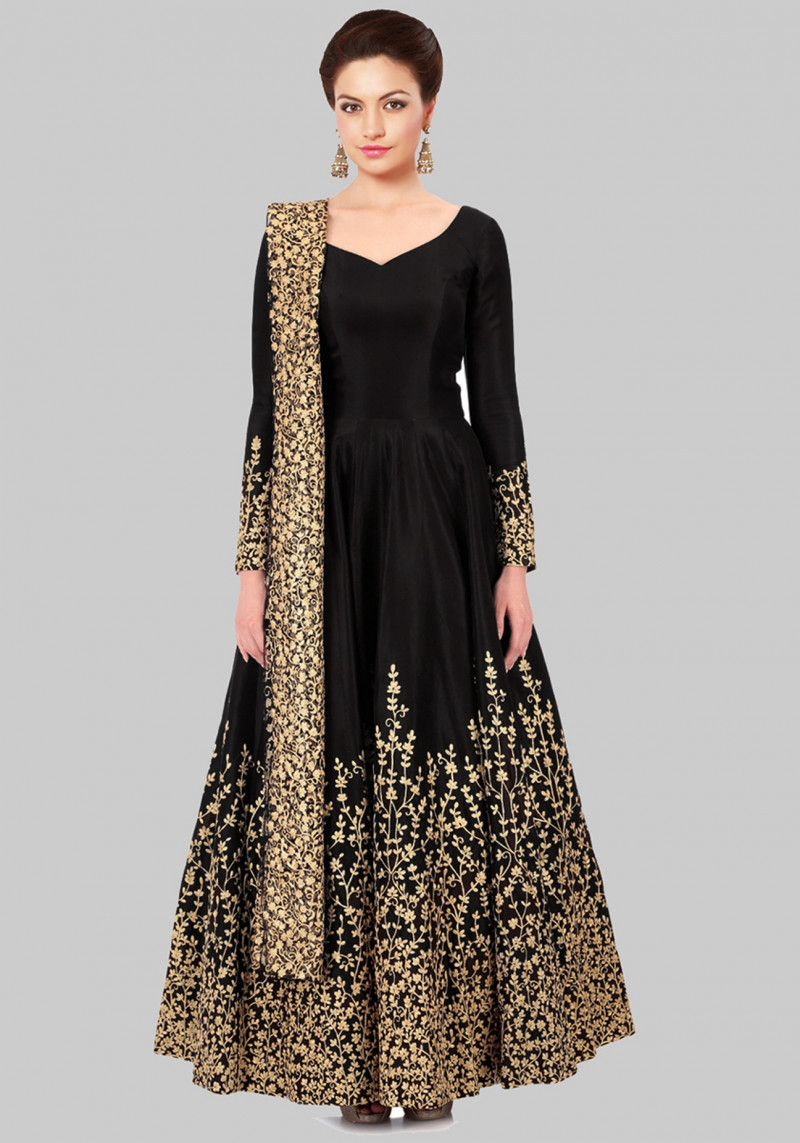 Black Wedding wear embroidered Anarkali Salwar Suit