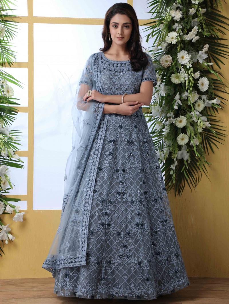 Grey Wedding Wear Embroidered Anarkali Suit
