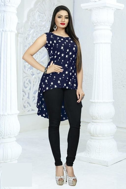 Navy Blue Star Printed Western Top