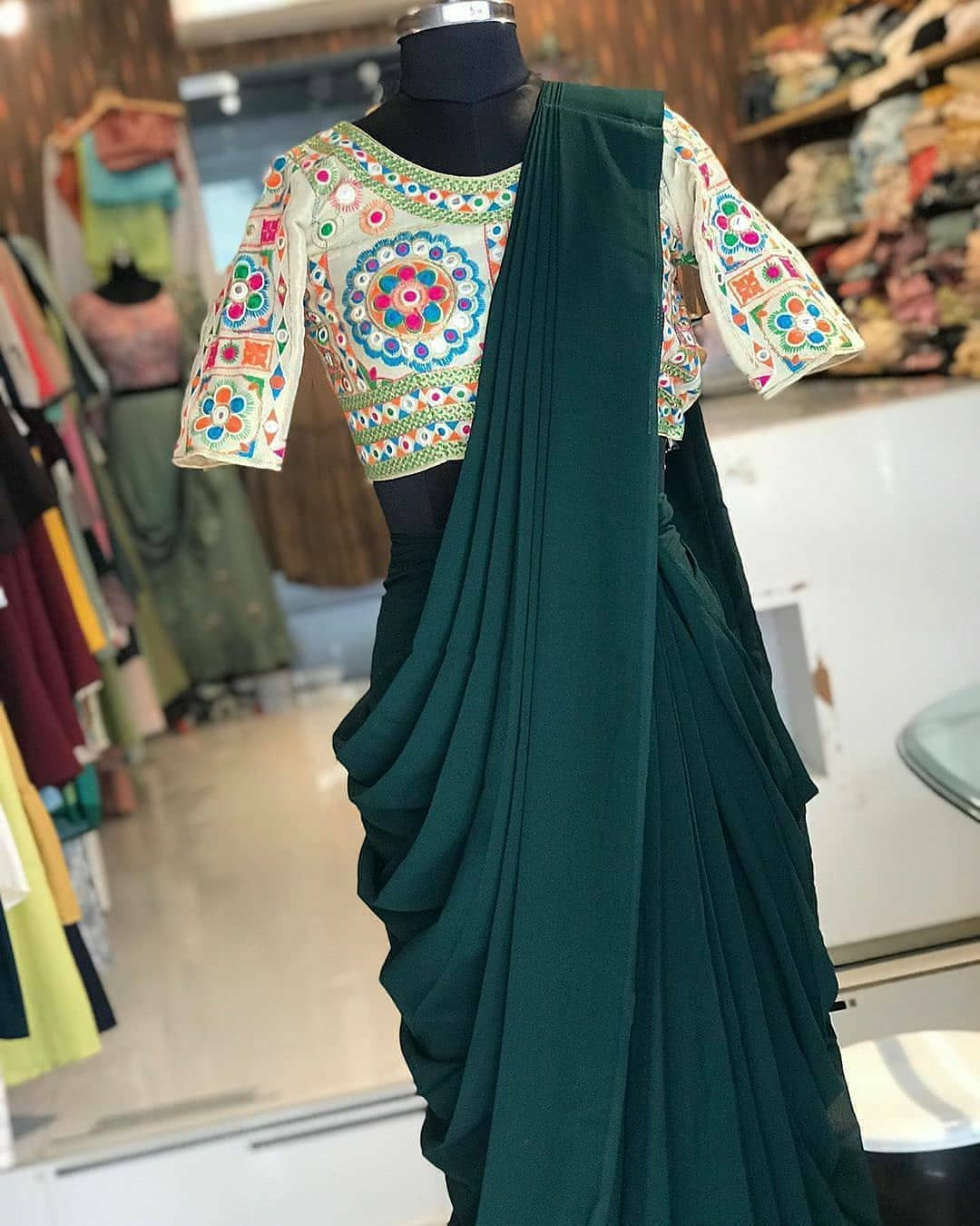 Green One Minute Ready To Wear Saree