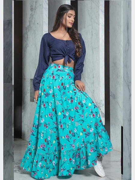 Printed Sea-Green Skirt With Navy-Blue Crop Top