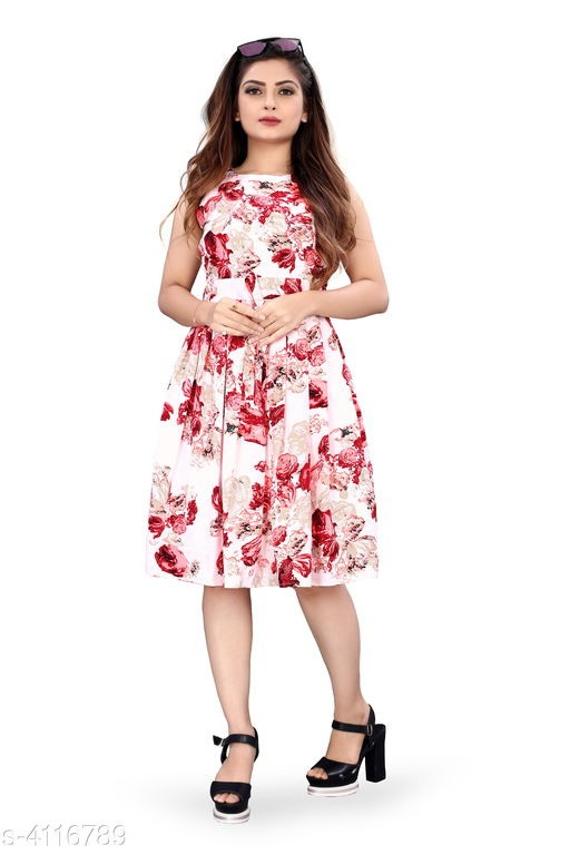 Red Flower Printed White Western Dress