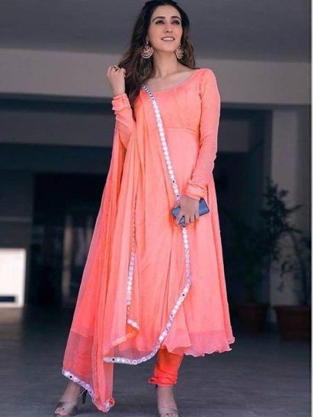Orange Plain  Anarkali Salwar Suit