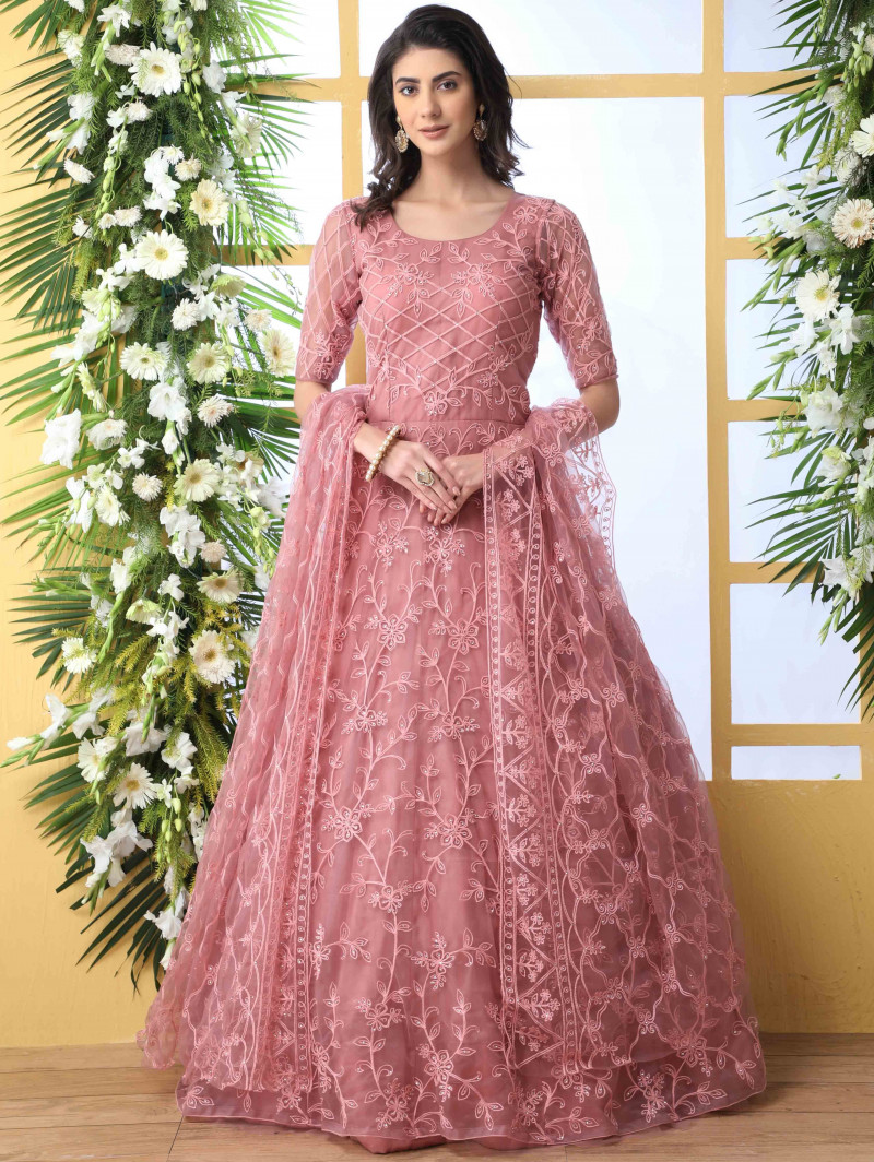 Pink Wedding Wear Embroidered Anarkali Suit