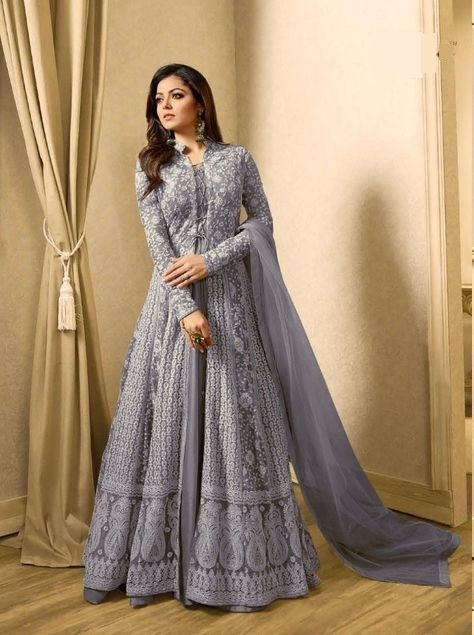 Grey Designer Anarkali Salwar Suit