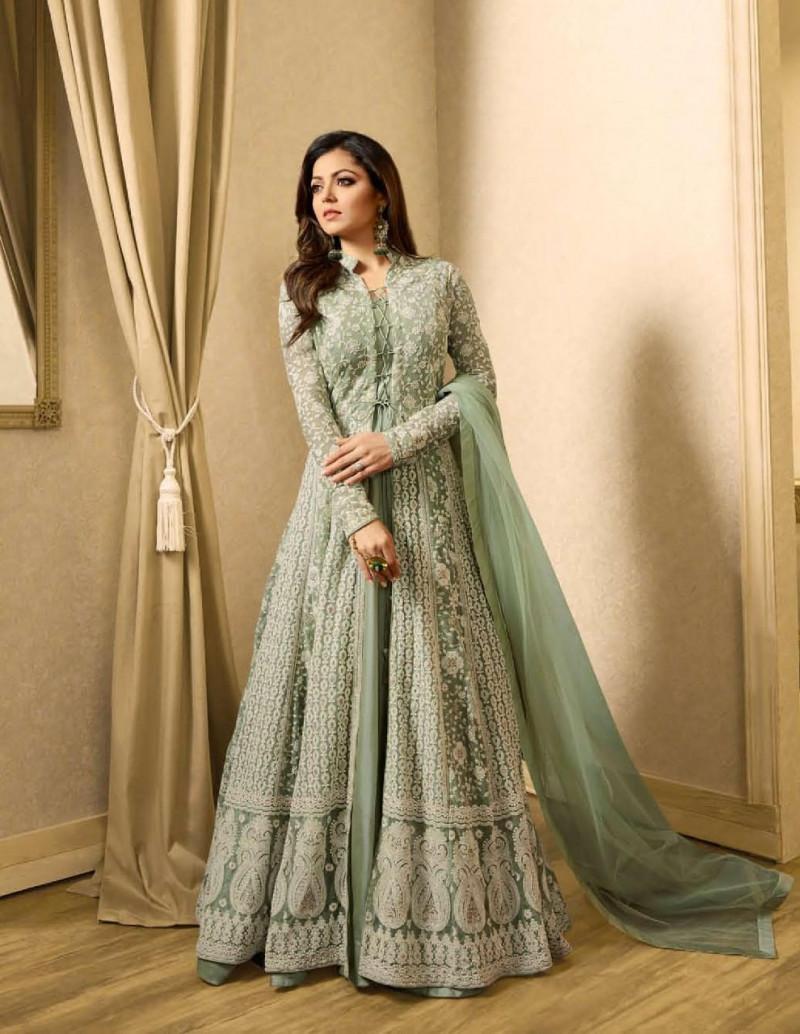 Light Green Designer Anarkali Salwar Suit