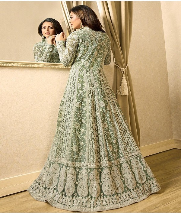 Light Green Designer Anarkali Salwar Suit