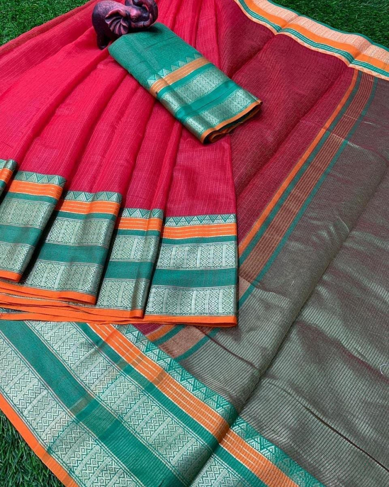 Ruby Pink  Kota Doria Bordered Saree