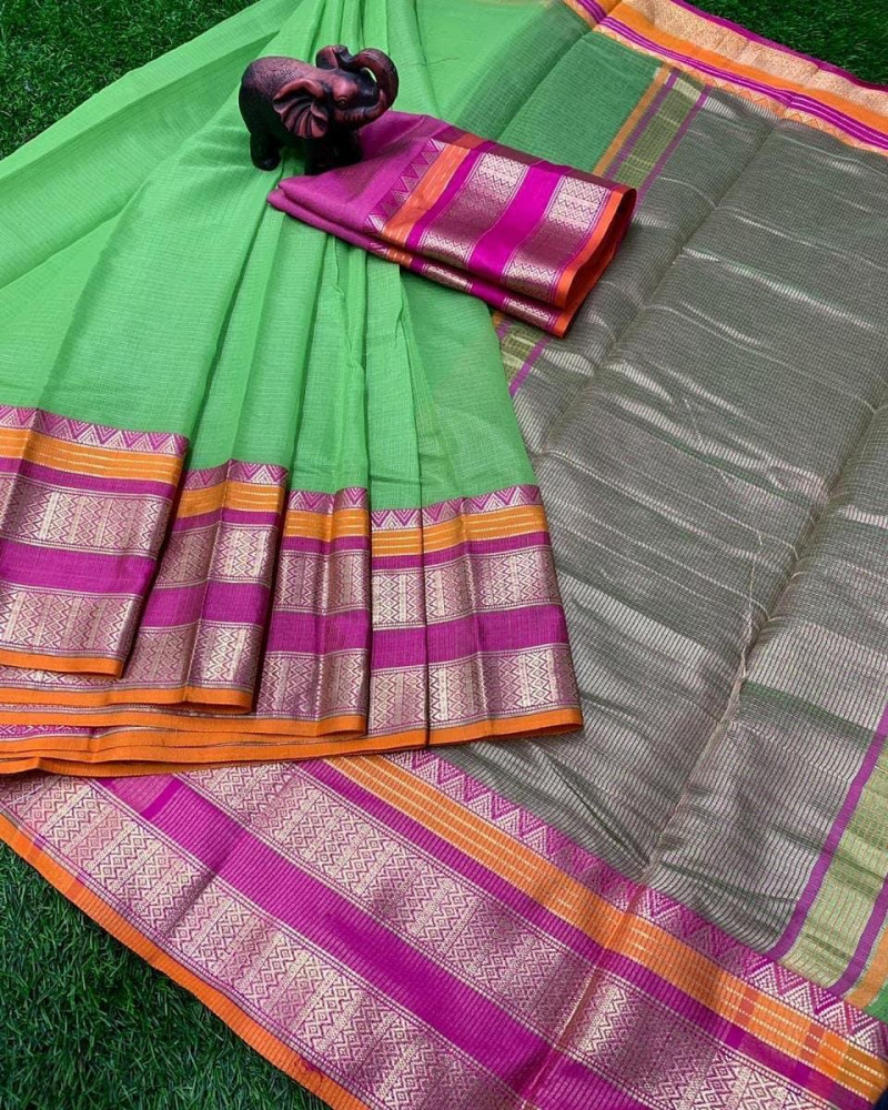 Bright Green Kota Doria Bordered Saree