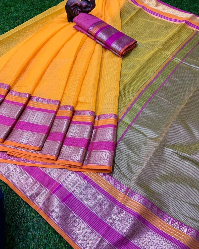 Yellow  Kota Doria Bordered Saree